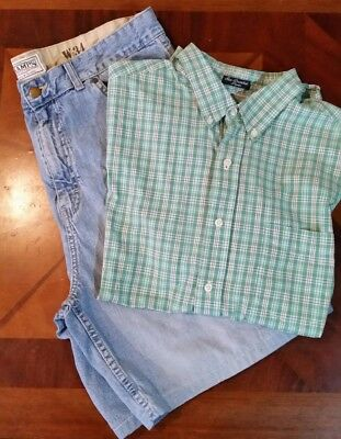 Men's size Large Chaps short sleeve shirt & 34 Champs shorts summer lot #2