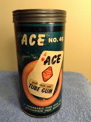 Vintage ACE NO. 40 TUBE TIRE REPAIRS CAN GUM FOR VULCANIZED - NEAT GRAPHICS
