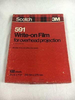 vintage scotch 591 write on film for overhead projection blue green yellow red