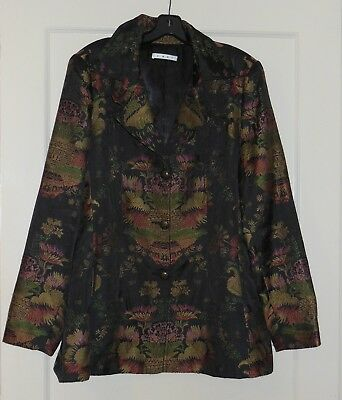 Black Cabi Designer Brocade Asian Oriental Jacket Blazer Art To Wear artsy XL