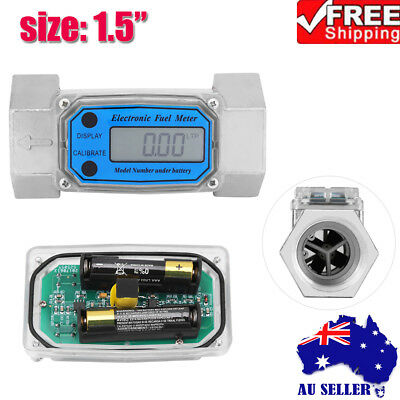 Turbine Digital Diesel Fuel Flow Meter Guage Counter For Chemicals Water 1.5''