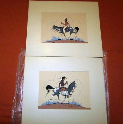 """2 Vintage Robert Chee Navajo Seigraphs 8 1/2"""" X 6 1/2"""" First Date #163 And #164"""