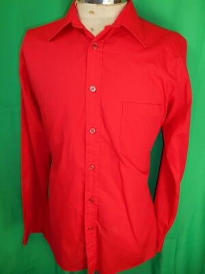 Bright Red Vintage 1970s Polyester & Cotton Dress Shirt 15 1/2 Medium Groovy Mod