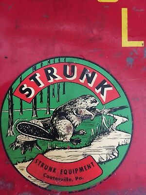 VINTAGE STRUNK CHAINSAW GAS OIL CAN SIGN -chain saw