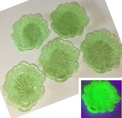 Set 5 vintage antique Green Vaseline Depression Glass Lettuce Leaf Salad Plate