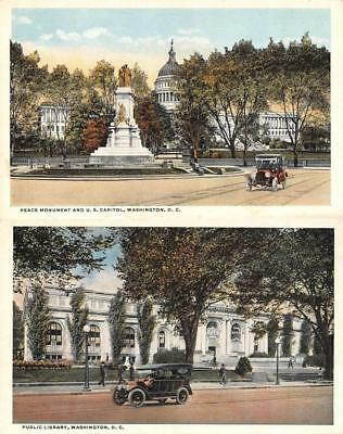 Washington, DC  PEACE MONUMENT~CAPITOL & LIBRARY~Cars  *TWO* c1920's Postcards