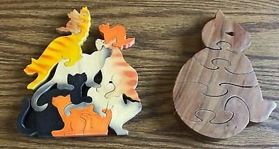 Lot of 2 Wooden Scroll Saw Puzzles - Handmade, EUC! Great Gift for Cat Lovers!