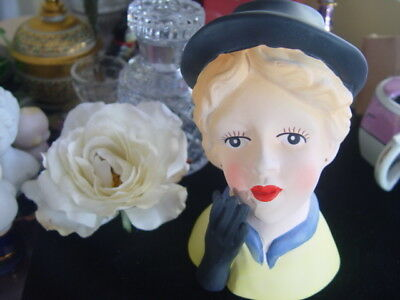 PRETTY LADY HEAD VASE - black hat, blue and yellow dress with black gloved hand