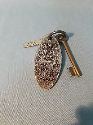 Vtg PALACE HOTEL MADRID Spain KEYS AND BRASS FOB ROOM #544 Safe Haunted Room