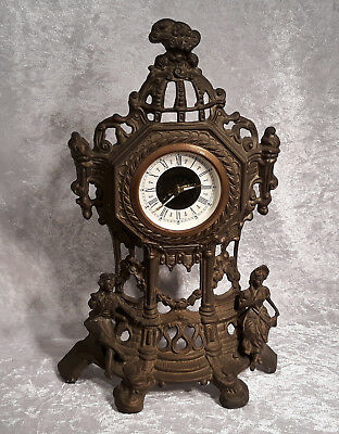 Vintage West German Brass Wind Up Mantel Clock