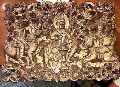 """Antique Burmese Carved Wood Wall Hanging Deities Gold Leaf 17"""" x 11"""""""