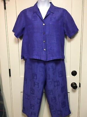 Chico's Design 2pc Camp Shirt/Cropped Pant, Purple, Sz 2 (L-12), Pre-owned, VGC!