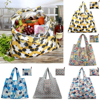 Large Foldable Pouch Grocery Shoulder Bag Shopping Bags Folding Bags Reusable