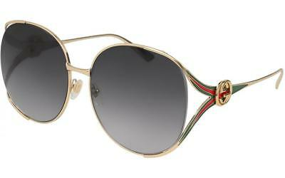 c1d4801315 Gucci Oversized Round Womens Sunglasses Gold Grey Gradient Lens GG0225S 001