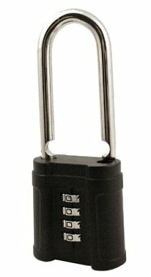 FJM Security SX-874 4-Dial Long Shackle Combination Padlock With Black Finish