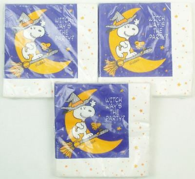 3 Packs of Vintage PEANUTS HALLOWEEN NAPKINS Snoopy Witch UNOPENED