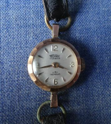 Solid 9ct Gold Vintage Swiss Ladies Cocktail Watch Art Deco Wind-up Works well