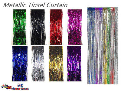 Metallic Tinsel Curtain Party Foil Fringe Curtain Venue Decoration 2M x 1M OZ