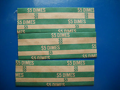 25 new flat paper coin wrappers USA dimes