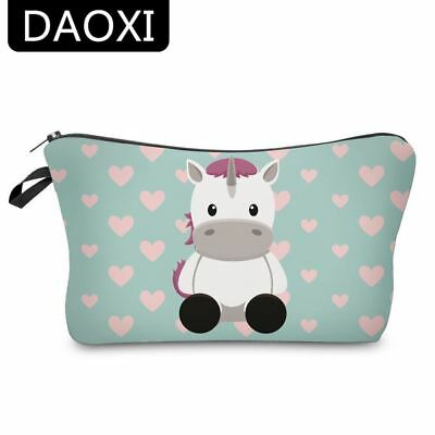 Unicorn Cosmetic Bags Cute Cow Heart Organizer Women Makeup Necessaries Travel