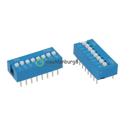 10PCS Slide Type Switch Module 2.54mm 8-Bit 8 Position Way DIP Pitch Blue