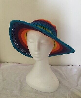 Handmade Crochet Hat. Rainbow Wide Blue Brim Unisex Adult Hat