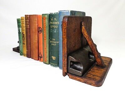 Antique Pair Arts & Crafts Oak Wood & Cast Iron Asymmetrical Bookends, W/braces