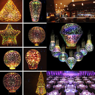 3D LED Fireworks Light E27 Edison Bulb Vintage Colourful For Xmas Party Weeding