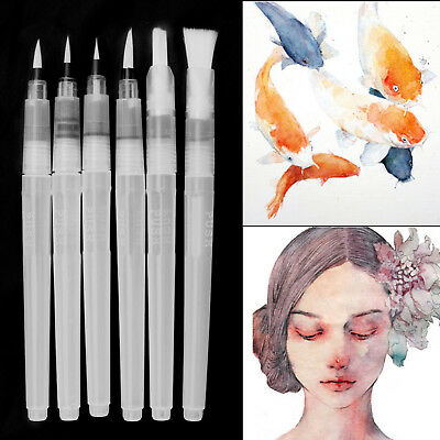 6Pcs SML Pilot Water Brush Ink Pen Calligraphy Paint Drawing Kits Watercolour