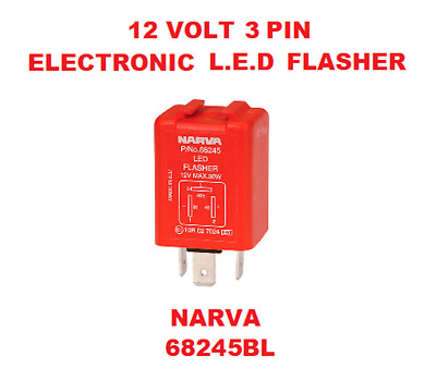 1x 12V 3 Pin Electronic L.E.D Flasher 12V- 30W Red and Silver NARVA 68245BL