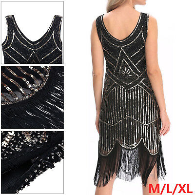 Hot 1920s gatsby vintage flapper lace sequin Tassel Sleeveless Party Maxi Dress