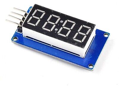 4-digit LED clock display, serial interface, TM1637 chip, Arduino compat.  #2341