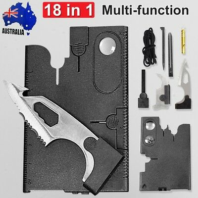 Multi Tool 18 in 1 Function Pocket Wallet Credit Card Kit Survival Knife Compass