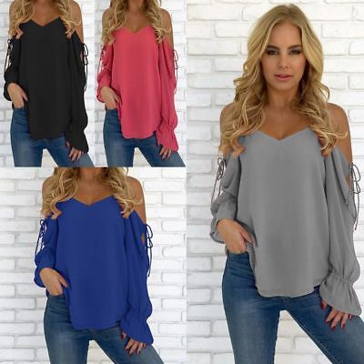 Off-Shoulder Women Sexy Long Sleeve Shirt Lace Up Blouse Loose Cotton Tops Shirt
