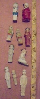 ANTIQUE SMALL BISQUE DOLL LOT OF 10 PENNY DOLLS 1.5-3ins