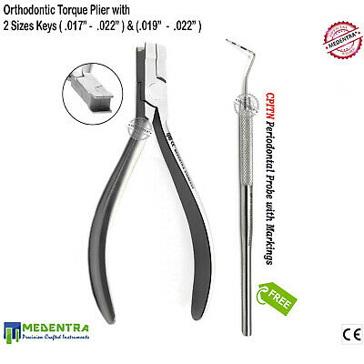 Orthodontic Torque Pliers Dental Archwire Torquing Tool With 2 Keys French Grade