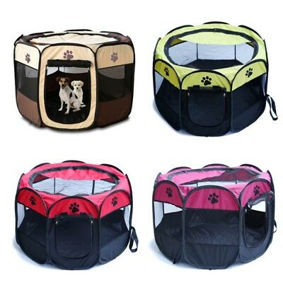 Pet Dog Cat Playpen Tent Portable Exercise Fence Kennel Cage Soft Crate 48/63cm