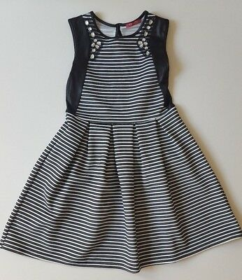 Girls Primark Black White Stripe Jewell Skater Christmas Party Dress Age 9 - 10
