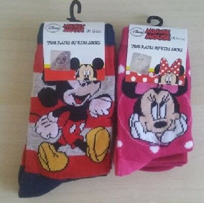 Disney Children`s Minnie Mouse/ Mickey Mouse Design 2 pairs of Kids Socks