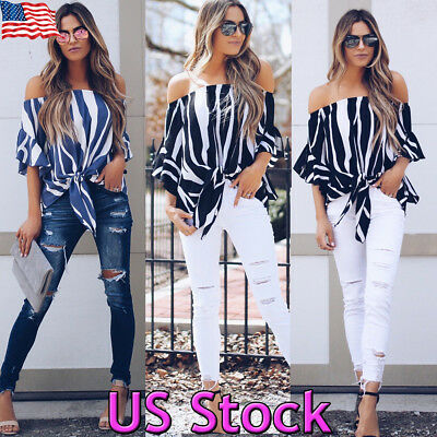 Fashion Women Striped Bell Sleeve Blouse T-shirt Ladies Off Shoulder  Loose Tops