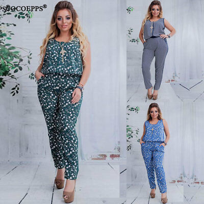 PLUS SIZE WOMEN`S Jumpsuit Floral Print Sleeveless Rompers Polka Dot ... 2ae3179bf211