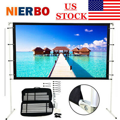 "100"" Projection Screen w/ Stand Portable for Indoor Outdoor Movie Projector DIY"