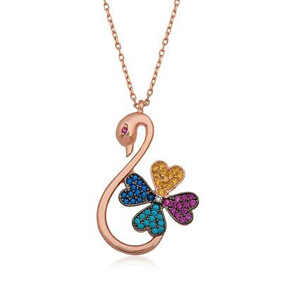 Sterling Silver Swan Clover Pendant Necklace For Women Fine Jewelry
