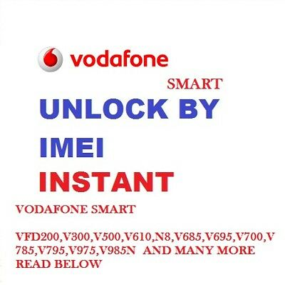 Unlock Code Unlocking Vodafone Smart Turbo 7 VFD-500 V500 VFD-501 VF500 VF501