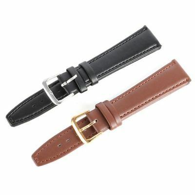USA Unisex Watch Band Buckle Wrist Watch Strap Replacement PU Leather 12mm-20mm