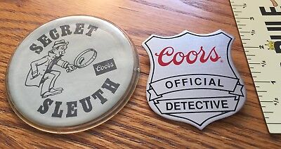 Rare 2 COORS OFFICIAL DETECTIVE & SECRET SLEUTH BUTTONS PINS For Employees 1980s