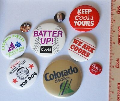 9 RARE COORS BUTTONS Anti Union, Colo Chiller, Batter Up, Top Dog, Etc. WOW!