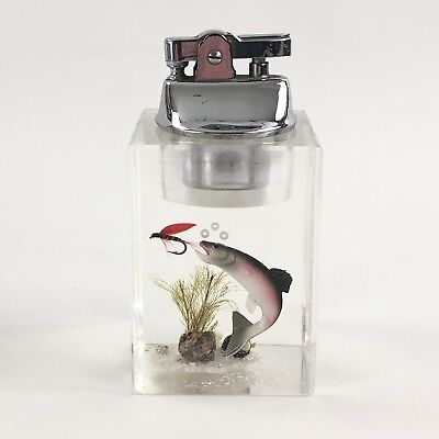 "Vintage Lucite Table Lighter Fly Fishing Trout 4"" 50s VGC"