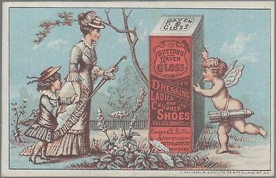 Victorian Trade Card-Button's Raven Gloss Shoe Dressing-Button & Ottley-NY-Cupid