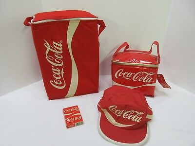 Lot of 4 Vintage Coca Cola Items. Tote bag lunch bag hat and playing cards